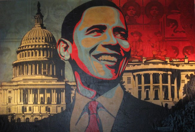 "Shepard Fairey, ""Capitol Hill"", 2009 Mixed media on canvas, cm 270x400"